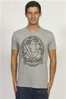 Men's Yoga Tee with Third Eye Surf Made From Recycled X-Ray Film in Grey