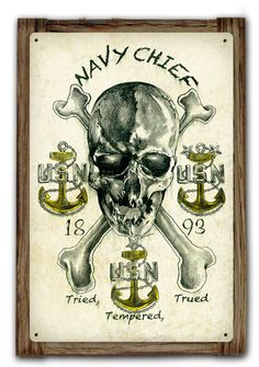 From the Altogether American licensed collection, this Navy Chief Tried, Tempered, Trued Metal Art Sign mounted to a Barnwood Frame measures 12 inches by 18 inches and weighs in at 3 lb(s). This custo