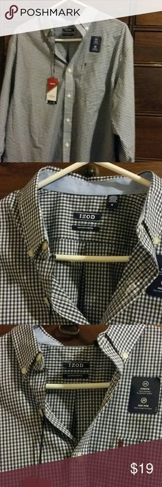 IZOD BUTTON DOWN NON-IRON SHIRT White and navy blue . The Advantage Gingham IZOD True Blue Button down shirt. Smoke-free home Izod Shirts Dress Shirts