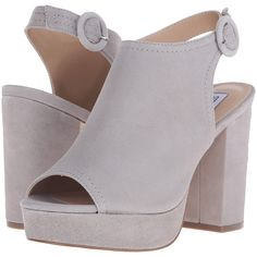 Steve Madden Slyye (Grey Suede) High Heels ($78) ❤ liked on Polyvore featuring shoes, sandals, grey, steve-madden shoes, gray sandals, grey sandals, open toe platform sandals and block heel platform sandals