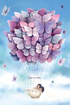 New Ideas For Painting Watercolor Girl Illustrations Butterfly Balloons, Butterfly Art, Butterflies, Watercolor Girl, Watercolor Canvas, Painting Canvas, Baby Painting, Ballerina Painting, Acrylic Canvas