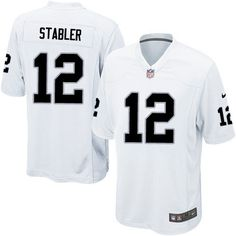 Nike Game Kenny Stabler White Men's Jersey - Oakland Raiders #12 NFL Road