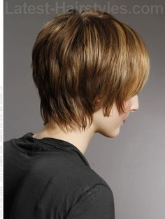Shaggy Chic Layered Highlighted Hair with Bangs Back View