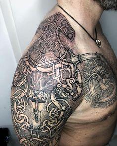 Viking Shoulder Tattoo Ideas – tattoos for women small Shoulder Armor Tattoo, Cool Shoulder Tattoos, Shoulder Tattoos For Women, Celtic Tattoos For Men, Viking Tattoos, Arm Tattoos For Guys, Viking Tattoo Sleeve, Norse Tattoo, Tattoo Celtic
