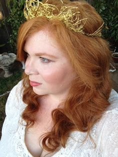 OOAK Whimsical Gold Tone Wire Bridal Wedding Tiara Crown, 100% Sizeable for Adults! Great for Princess, Queen, Fairy, or Renaissance Costume