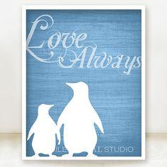 Love Always Penguins  Blue Textured by spoiledroyalstudio on Etsy, $15.00