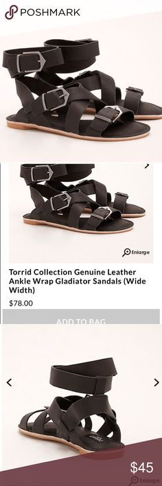 Torrid genuine leather sandals🚨PRICE DROP🚨size9W Gorgeous torrid Gladiator Sandals that are genuine leather. Part of the torrid collection, so the materials are phenomenal! It also comes with a pink torrid collection baggy for your sandals. Size 9W with adjustable straps for the ultimate comfort/ perfect fit. Pick these up today :) torrid Shoes Sandals