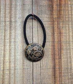 Vintage Bronze Ivy Holly Shank Button Embellished Black Elastic Ponytail Hair Tie