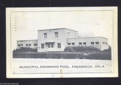 FREDERICK OKLAHOMA MUNICIPAL SWIMMING POOL ANTIQUE VINTAGE POSTCARD 1941 B&W