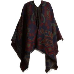 Etro Floral-intarsia wool-blend wrap (10 870 UAH) ❤ liked on Polyvore featuring tops, cardigans, blue multi, blue wrap top, wrap cardigan, blue floral cardigan, floral print cardigan and boho tops