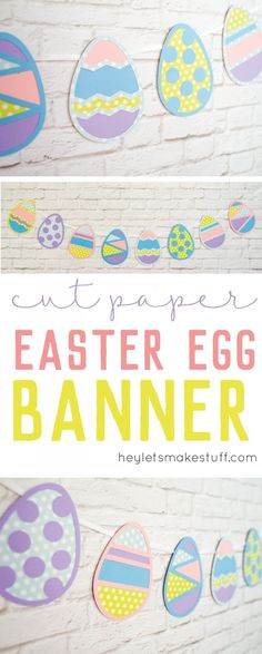 These SVG Easter egg cut files are perfect for a sweet Easter banner or other Spring decor! Cut them on your Cricut Explore or other electronic cutter.