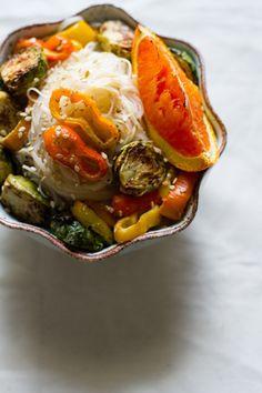 orange ginger veggie noodle bowl