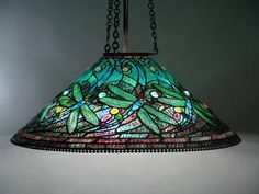 """29"""" Swirling Dragonfly Leaded Glass and Bronze Tiffany hanging Lamp #616"""