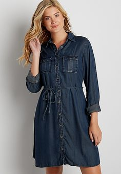 super soft chambray shirtdress in dark wash | maurices