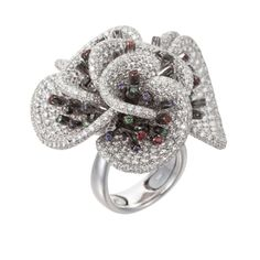 Palmiero Jewelry 18K White Gold Contemporary Floral Design Diamond Ring (=)