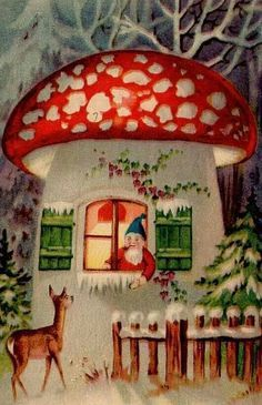 """""""In Siberian legends the reindeer took flight each winter after ingesting the hallucinogenic Amanita Muscaria mushroom, the archetypal red toadstool with white spots. ... There are theories that Santa's costume derives from shamans in the Arctic regions who would dress in red suits with white spots, collect the mushrooms and then deliver them through chimneys as gifts on the winter solstice. Talk about a wild night."""""""
