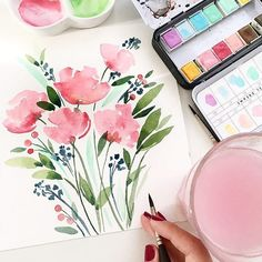 Lovely Flowers By Artist Anna Dearannart . Tag Floralwatercolorhub And Hashtag For A Chance To Be Featured Watercolor Painting Techniques, Easy Watercolor, Watercolour Tutorials, Watercolor Cards, Abstract Watercolor, Painting & Drawing, Watercolor Paintings, Watercolors, Watercolor Illustration