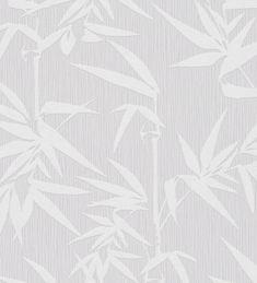 Papel pintado hojas de juncos fondo gris claro - 1140090