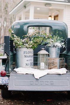 Vintage Truck Wedding Decor with Galvanized Buckets | Krystal Kast Photography on @loveincmag via @aislesociety