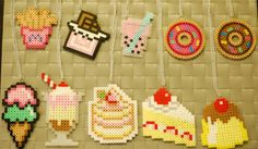 Dessert Perler Necklaces/Magnets/Keychains! Kawaii! French Fries-Chocolate Bar- Boba-Donut- Ice Cream-Sundae - Strawberry Cake - Cake - Flan
