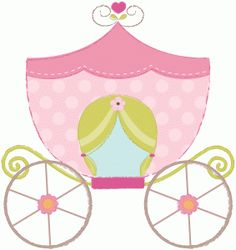 Print design and cut out princess carriage/coach Baby Set, Paper Diamond, Cute Princess, Princess Party, Heart Collage, Princess Carriage, Pink Castle, Scrapbook Borders, Silhouette Online Store