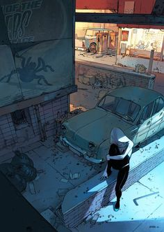 Marvel Spider Gwen by Bengal reference comic artist Spider Gwen, Book Art, Comic Books Art, Spiderman, Nightwing, Tomer Hanuka, Dibujos Cute, Animation, Environment Design