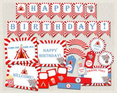 Carnival Circus Theme Printable Party by PixiePerfectParties Diy Carnival, Personalized Thank You Cards, Elephant Birthday, Happy Birthday, Birthday Parties, Printable Party, Circus Theme, First They Came, Red And Blue