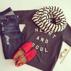 love this look: casual sweatshirt, jeans, shoes, and scarf.