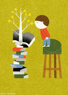 Book Tree by Ryo Takemasa #Illustration #Book #Boy