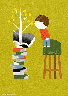 Book Tree by Ryo Takemasa #Illustration #Ryo_Takemasa