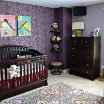 love the purple wallpaper and the bird canvas wall art, as well the rug :)