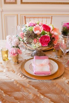 Pink Gold Romantic Tabletop | photography by http://www.ashleybartoletti.com