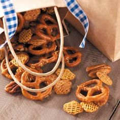 Honey-Glazed Snack Mix Recipe from Taste of Home. The sweet, addictive flavor will surely have you begging for more!