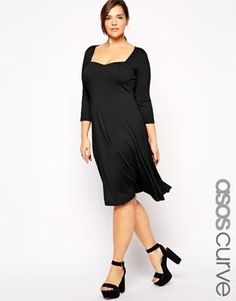 ASOS CURVE 3/4 Sleeve Skater Dress with Sweetheart Neck in Longer Length