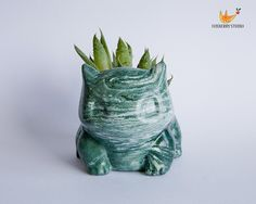 Marbled Green Stone Look Bulbasaur Pokémon Planter / Succulent Planter / Jewelry Holder by FoxberryStudio on Etsy