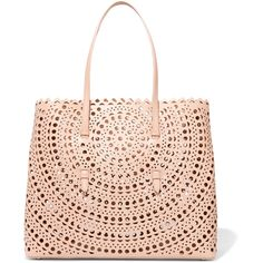 Alaïa Vienne large laser-cut leather tote (€5.460) ❤ liked on Polyvore featuring bags, handbags, tote bags, leather purses, pink purse, leather tote, leather tote bags and pink handbags