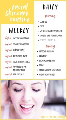 m sharing my daily & weekly skincare routine including the skincare products I use, my simple morning skincare routine, and what i do for skincare each week   brighterbold.com #skincare
