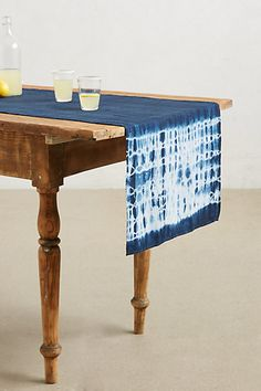Hand-Dyed Shibori Table Runner -