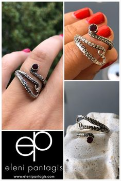 Octopus ring silver with red garnet gemstone tentacle ring Octopus ring silver with red garnet gemstone tentacle ring Garnet Rings, Garnet Gemstone, Love Bracelets, Silver Bracelets, Sterling Silver Cross, Sterling Silver Jewelry, Purple Stone Rings, Silver Ring Designs, Red Garnet