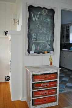 Use coke crates for a fun vintage storage solution. Willow Decor: Renovating My Beach House