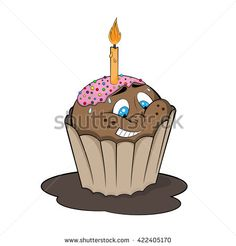 Funny cupcake with candle. Cartoon style