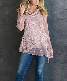 Take a look at this Pink Crochet-Panel Cowl Neck Tunic today!