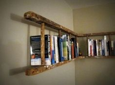 Upcycle an old ladder into a corner bookshelf by molly    People are so good coming up with ideas for old things...