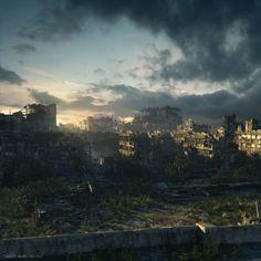 City Ruins at Dusk | Sci-Fi Art