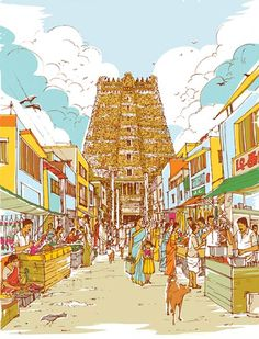 Sample local life & stories on award winning walking tours & Day tours in Chennai. Experience the best of Chennai with Storytrails Indian Illustration, Illustration Story, Illustrations, Village Tours, Composition Painting, Indian Artwork, City Road, Paint Photography, Perspective Drawing