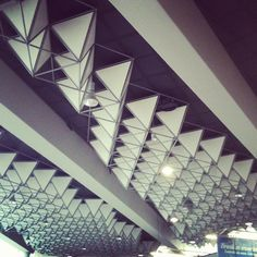 The unique ceiling design at Frankfurt Am Main International Airport...
