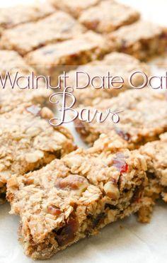 Date Oat Bars Date Nut Bars a healthy breakfast bar recipe. Breakfast Bars Healthy, Healthy Bars, Breakfast On The Go, Healthy Snacks, Breakfast Recipes, Snack Recipes, Date Recipes Healthy, Nutritious Snacks, Bar Recipes
