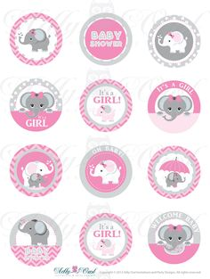 Pink Grey Girl Elephant Baby Shower Cupcake Toppers,Favor Tags, oh baby…