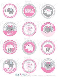 editable pink gray girl elephant baby shower cupcake tags oh baby chevron itu0027s a girl diy peanut digital file ao46bs0ac2
