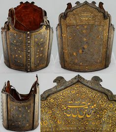 Persian char-aina (chahar-aina, chahar a'ineh). Literally the four mirrors. Four plates worn over a zirah (shirt of mail) in Persia, India and Central Asia, the interior is lined with velvet, It features elegant arabesques inlaid in gold, with leaves, clusters and birds and framed by a wide frieze of daisies and roses. Musée de l'Armée.